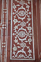 Agra, India.  Inlaid Stonework Flower Design in  Entrance to Itimad-ud-Daulah.