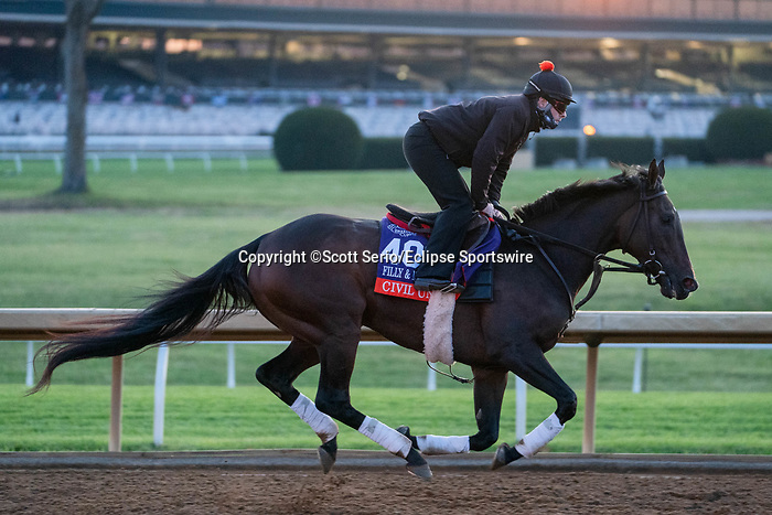 November 5, 2020: Civil Union, trained by trainer Claude R. McGaughey III, exercises in preparation for the Breeders' Cup Filly & Mare Turf at Keeneland Racetrack in Lexington, Kentucky on November 5, 2020. Scott Serio/Eclipse Sportswire/Breeders Cup/CSM