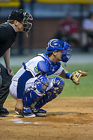 Burlington Royals catcher Michael Arroyo (11) sets a target as home plate umpire Grant Hinson looks on during the game against the Bluefield Blue Jays at Burlington Athletic Stadium on June 27, 2016 in Burlington, North Carolina.  The Royals defeated the Blue Jays 9-4.  (Brian Westerholt/Four Seam Images)