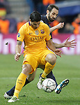 Atletico de Madrid's Juanfran Torres (r) and FC Barcelona's Luis Suarez during Champions League 2015/2016 Quarter-Finals 2nd leg match. April 13,2016. (ALTERPHOTOS/Acero)
