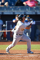 Mesa Solar Sox Franklin Barreto (4), of the Oakland Athletics organization, during a game against the Peoria Javelinas on October 19, 2016 at Peoria Stadium in Peoria, Arizona.  Peoria defeated Mesa 2-1.  (Mike Janes/Four Seam Images)