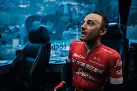 Gianluca Brambilla (ITA/Trek-Segafredo) back in the teambus after a hard day on the bike<br /> <br /> Trofeo Lloseta - Andratx: 140km<br /> 27th Challenge Ciclista Mallorca