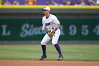 Winston-Salem Dash second baseman Mitch Roman (4) on defense against the Salem Red Sox at BB&T Ballpark on April 22, 2018 in Winston-Salem, North Carolina.  The Red Sox defeated the Dash 6-4 in 10 innings.  (Brian Westerholt/Four Seam Images)