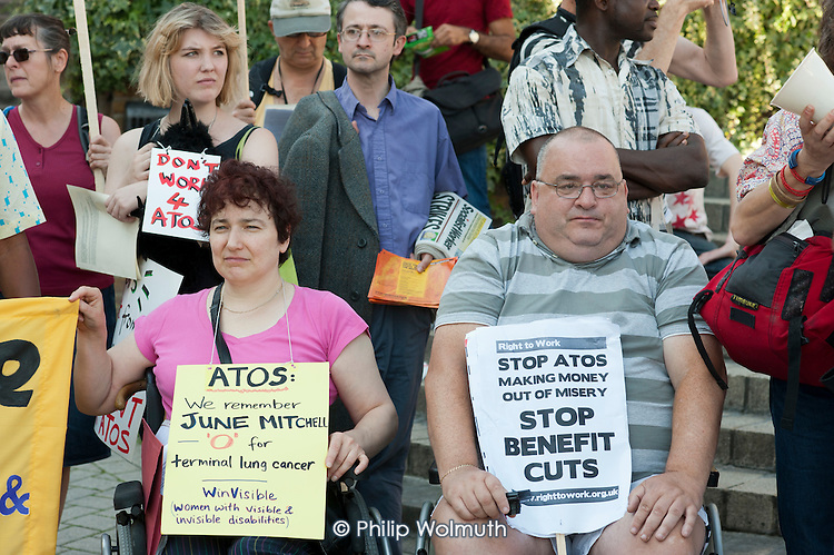 National Day of Action against Atos.  Disability campaigners protest at the presence of Atos Healthcare at a BMJ Recruitment Fair in Islington, London, and the company's involvement in work capability assessments of disabled benefit claimants.