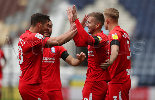 31st October 2020; Deepdale Stadium, Preston, Lancashire, England; English Football League Championship Football, Preston North End versus Birmingham City; Riley McGree of Birmingham City celebrates with his team mates Birmingham City after scoring after 2 minutes