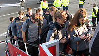 Photo: Richard Lane/Richard Lane Photography. Toulouse v Wasps.  European Rugby Champions Cup. 14/12/2018. Wasps players board the aeroplane to Toulouse at Birmingham Airport.