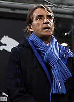 Football: Uefa Nations League Group 3match Italy vs Portugal at Giuseppe Meazza (San Siro) stadium in Milan, on November 17, 2018.<br /> Italy's national team coach Roberto Mancini sings the Italy national anthem prior to the Uefa Nations League match between Italy and Portugal at Giuseppe Meazza (San Siro) stadium in Milan, on November 17, 2018.<br /> UPDATE IMAGES PRESS/Isabella Bonotto