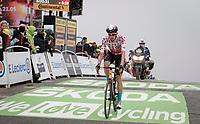polka dot jersey / KOM leader Wout Poels (NED/Bahrain - Victorious) finishing atop the Col du Portet (HC/2215m)<br /> <br /> Stage 17 from Muret to Saint-Lary-Soulan (Col du Portet)(178km)<br /> 108th Tour de France 2021 (2.UWT)<br /> <br /> ©kramon