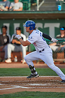 Owen Taylor (27) of the Ogden Raptors at bat against the Grand Junction Rockies at Lindquist Field on June 5, 2021 in Ogden, Utah. The Raptors defeated the Rockies 18-1. (Stephen Smith/Four Seam Images)