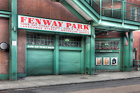 A view of historic Fenway Park in Boston, Massachusetts from just outside Gate E on Lansdowne street