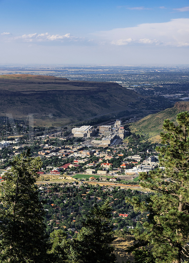 Aerial of the town of Golden with Coors Brewey, Colorado, USA