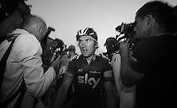 Geraint Thomas (GBR) escaping the press scrum engulfing teammate & Tour winner Chris Froome<br /> <br /> Tour de France 2013<br /> (final) stage 21: Versailles - Paris Champs-Elysées<br /> 133,5km