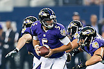 Baltimore Ravens quarterback Joe Flacco (5) in action during the pre-season game between the Baltimore Ravens and the Dallas Cowboys at the AT & T stadium in Arlington, Texas. Baltimore defeats Dallas  37-30.