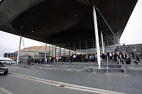 "Pictured: Hundreds of people attend the service outside the Senedd. Wednesday 31 May 2017<br /> Re: The funeral for former first minister Rhodri Morgan has taken place in the Senedd in Cardiff Bay.<br /> The ceremony, which was open to the public, was conducted by humanist celebrant Lorraine Barrett.<br /> She said the event was ""a celebration of his life through words, poetry and music"".<br /> Mr Morgan, who died earlier in May aged 77, served as the Welsh Assembly's first minister from 2000 to 2009.<br /> He was credited with bringing stability to the fledgling assembly during his years in charge.<br /> It is understood Mr Morgan had been out cycling near his home when he died."