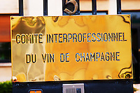 A brass sign at the entrance to the head quarters of CIVC (Comite Interprofessionnel du Vin de Champagne) in Epernay, Champagne, Marne, Ardennes, France