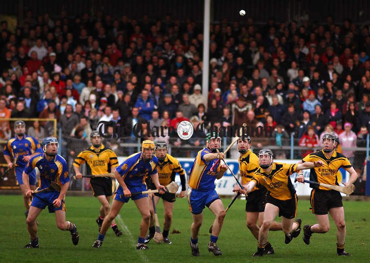 clonlara and newmarket players wait on a high dropping ball ..photography mike mulcaire