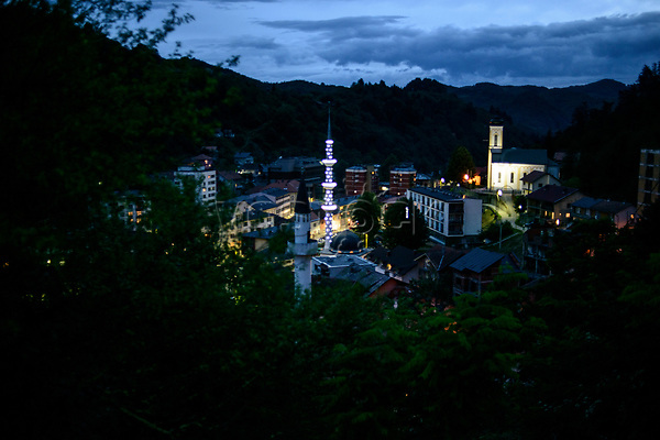 Bosnia Herzegovina, Srebrenica, July 10. The town of Srebrenica at night, 10.07.2014