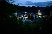 Bosnia Herzegovina, Srebrenica, July 10. The town of Srebrenica at night, 10.07.2014