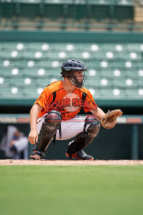 GCL Orioles catcher Jose Montanez (37) during a game against the GCL Rays on July 21, 2017 at Ed Smith Stadium in Sarasota, Florida.  GCL Orioles defeated the GCL Rays 9-0.  (Mike Janes/Four Seam Images)
