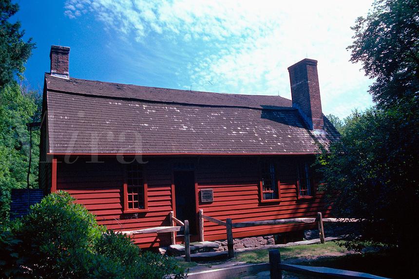 The exterior of the Gilbert Stuart Birthplace. Saunderstown, Rhode Island.