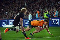Australia's Tom Banks scores during the Bledisloe Cup rugby match between the New Zealand All Blacks and Australia Wallabies at Eden Park in Auckland, New Zealand on Saturday, 7 August 2021. Photo: Dave Lintott / lintottphoto.co.nz