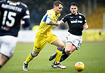 Dundee v St Johnstone…10.03.18…  Dens Park    SPFL<br />Jason Kerr gets between Jon Aurtenetxe and Lewis Spence<br />Picture by Graeme Hart. <br />Copyright Perthshire Picture Agency<br />Tel: 01738 623350  Mobile: 07990 594431