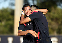 MIAMI, FL - DECEMBER 21, 2012:  Benji Joya with Mario Rodriguez of the USA MNT U20 during a closed scrimmage with the Venezuela U20 team, on Friday, December 21, 2012, At the FIU soccer field in Miami.  USA won 4-0.