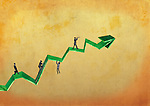 Illustrative image of businessmen walking on a line graph representing business growth