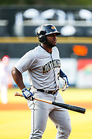 Montgomery Biscuits outfielder Moises Gomez (21) at bat against the Tennessee Smokies on May 8, 2021, at Smokies Stadium in Kodak, Tennessee. (Danny Parker/Four Seam Images)