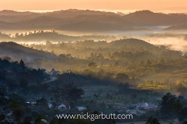 Sun rise over Ranomafana village, adjacent to Ranomafana National Park, south eastern rainforest region, Madagascar.