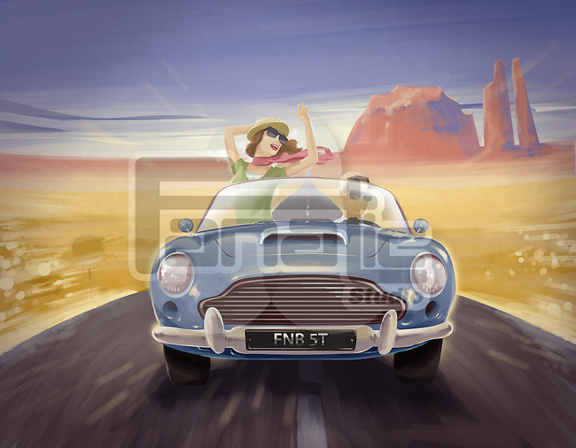 Illustration of couple on a road trip