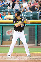 Brennan Boesch (23) of the Salt Lake Bees at bat against the Tacoma Rainiers in Pacific Coast League action at Smith's Ballpark on July 8, 2014 in Salt Lake City, Utah.  (Stephen Smith/Four Seam Images)