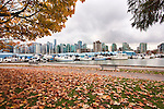 Vancouver, British Columbia, skyline seen from Stanley Park.  In urban Stanley Park, the promenade takes walkers, bikers, and bladers past the downtown skyline and lush natural gardens.