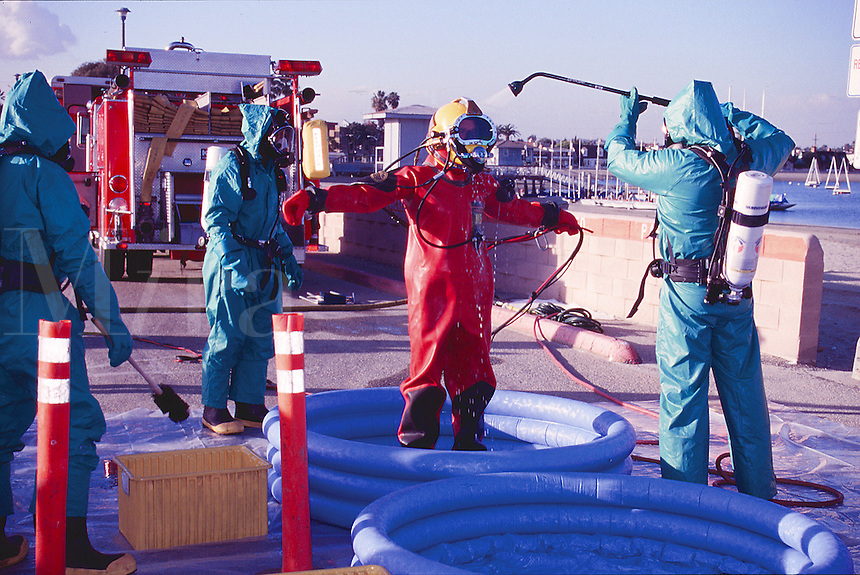 Decontamination of rescue diver by hazmat team, Long  Beach, California.