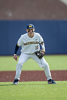 Michigan Wolverines second baseman Blake Nelson (10) on defense against the San Jose State Spartans on March 27, 2019 in Game 1 of the NCAA baseball doubleheader at Ray Fisher Stadium in Ann Arbor, Michigan. Michigan defeated San Jose State 1-0. (Andrew Woolley/Four Seam Images)