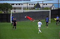 Miramar keeper Zac Jones makes a save during the Central League football match between Miramar Rangers and Wellington Olympic AFC at David Farrington Park in Wellington, New Zealand on Saturday, 29 May 2021. Photo: Dave Lintott / lintottphoto.co.nz
