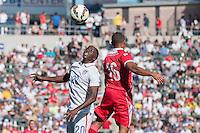 Carson, CA - Sunday, February 8, 2015 Gyasi Zardes (20) of the USMNT and Yairo Yau (16) of Panama. The USMNT defeated Panama 2-0 during an international friendly at the StubHub Center.