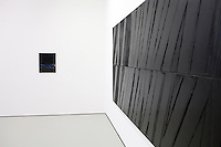 Exhibition by Pierre Soulages at the Musée Fabre, Montpellier, France, 13 July 2012. Canvases by the French abstract artist are part of the gallery's permanent collection.
