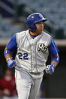Angelo Songco #22 of the Rancho Cucamonga Quakes during a game against the Lancaster JetHawks at Clear Channel Stadium on August 22, 2012 in Lancaster, California. Rancho Cucamonga defeated Lancaster 8-7. (Larry Goren/Four Seam Images)