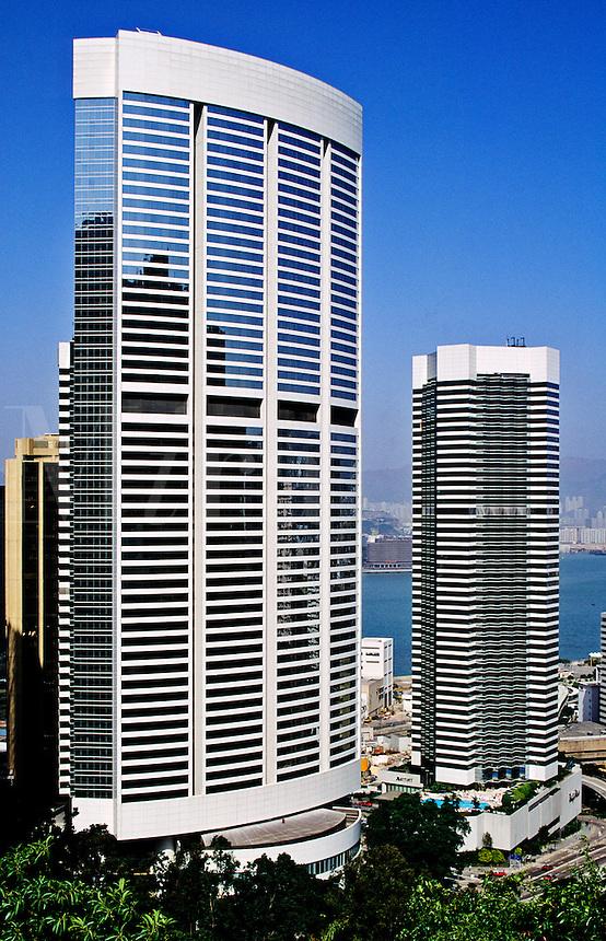 Hong Kong, China. Pacific Place hotels. Conrad Hotel.  J. W. Marriott Hotel.