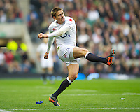 Toby Flood of England takes a conversion attempt during the QBE International between England and Fiji at Twickenham on Saturday 10th November 2012 (Photo by Rob Munro)