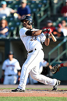Rochester Red Wings third baseman Deibinson Romero (23) at bat during the second game of a doubleheader against the Buffalo Bisons on July 6, 2014 at Frontier Field in Rochester, New  York.  Rochester defeated Buffalo 6-1.  (Mike Janes/Four Seam Images)