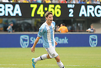 Argentina defender Federico Fernadez (17) celebrates his score in the 75th minute of the game.  The Argentina National Team defeated Brazil 4-3 at MetLife Stadium, Saturday July 9 , 2012.