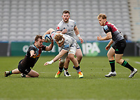 20th February 2021; Twickenham Stoop, London, England; English Premiership Rugby, Harlequins versus Sale Sharks; Daniel Du Preez of Sale Sharks being challenged by Will Evans of Harlequins