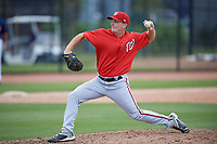 Washington Nationals pitcher Matthew Crownover (19) delivers a pitch during a minor league Spring Training game against the Houston Astros on March 28, 2017 at the FITTEAM Ballpark of the Palm Beaches in West Palm Beach, Florida.  (Mike Janes/Four Seam Images)