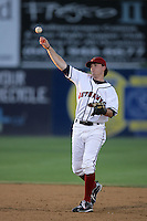 Barry Butera of the Lancaster JetHawks during game against the Visalia Rawhide at Clear Channel Stadium in Lancaster,California on July 28, 2010. Photo by Larry Goren/Four Seam Images