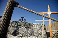 "Afghanistan, 10.2012. OP North, ""Beobachtungsposten Nord"" der Bundeswehr in der Unruheprovinz Baglan. Gedenkkreuze fuer die Gefallenen.   German Army Observation Point North in the less peaceful Baghlan province. Memorial crosses for those killed in action. © Timo Vogt/EST&OST"