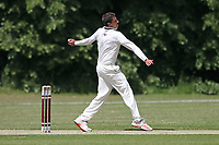 Charlie Griffiths in bowling action for Brentwood during Brentwood CC (bowling) vs Harold Wood CC, Hamro Foundation Essex League Cricket at The Old County Ground on 12th June 2021