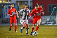 Jennifer Bouchenna (17) of Charleroi and Selina Gijsbrechts (11) of Woluwe pictured during a female soccer game between FC Femina White Star Woluwe and Sporting Charleroi on the 2nd matchday of Play off 2 in  the 2020 - 2021 season of Belgian Scooore Womens Super League , friday 16 th of April 2021  in Woluwe , Belgium . PHOTO SPORTPIX.BE   SPP   STIJN AUDOOREN