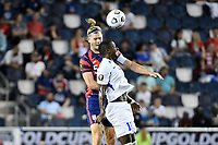 KANSAS CITY, KS - JULY 15: Walker Zimmerman #5 of the United States wins the heade during a game between Martinique and USMNT at Children's Mercy Park on July 15, 2021 in Kansas City, Kansas.